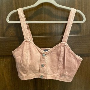 Blush Denim Bralette Cropped Top